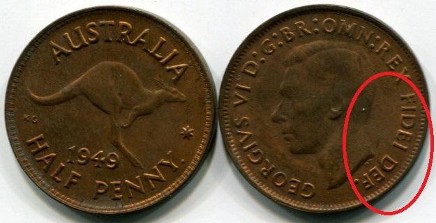 Монета. Австралия. 1949. Fidei Def.
