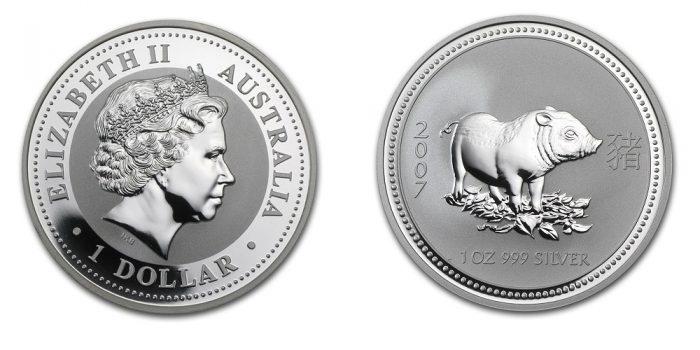 Свинья (Австралия) - 07 [7105-0357], 1 доллар, Серебро 999