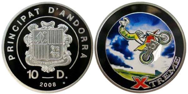 Монета Мотокросс (Андорра) - 08 [7111-0069], 10 Динер, Серебро 925