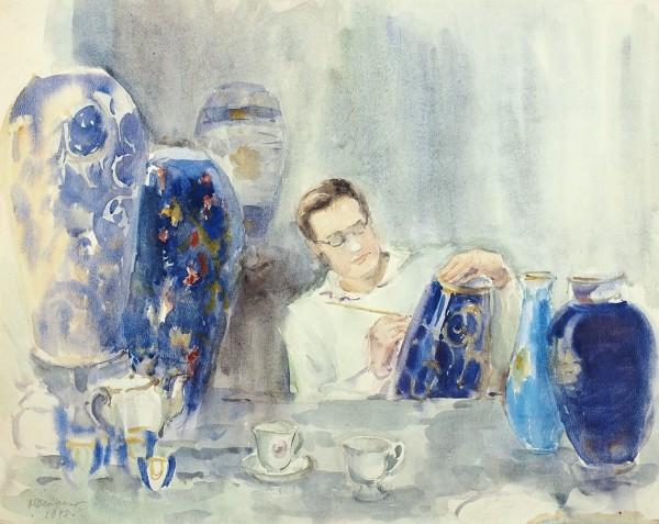 Дейнеко Ольга Константиновна (1897—1970) «Роспись вазы». 1948 . 1948