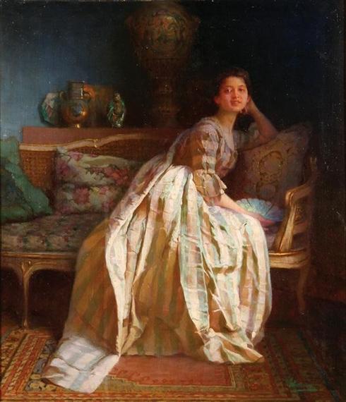 Виктор Шрамм Viktor Schramm Юная красавица в шелковом платье в интерьере