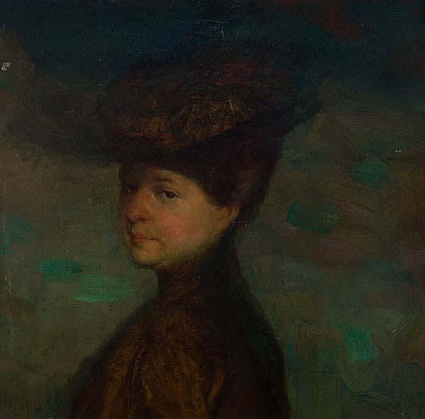 Виктор Шрамм Viktor Schramm Дама в коричневом платье и шляпке