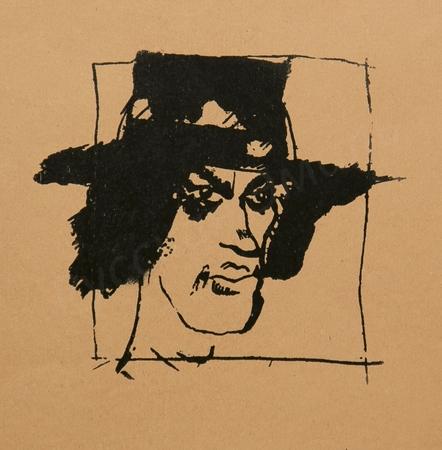 Жегин (Шехтель) Л.Ф. Цинкографический авторский оттиск портрета В.В. Маяковского для первого сборника поэта