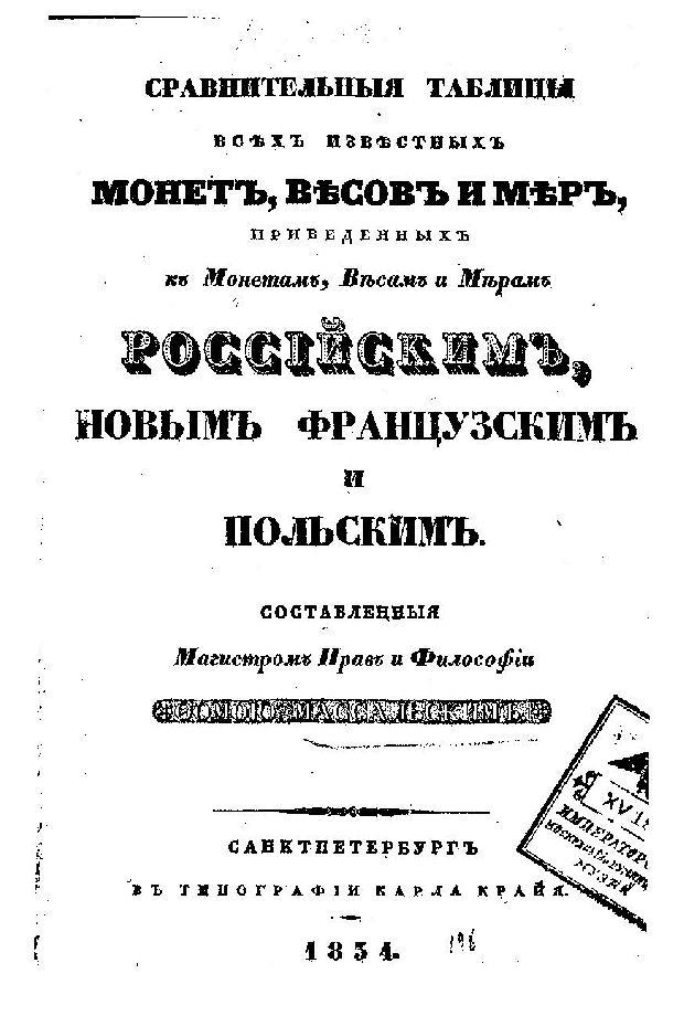 Книга Сравнительные таблицы всех известных монет, весов и мер, приведённых к монетам, весам и мерам российским, новым французским и польским, Массальский Р., 1834